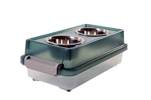 IRIS, voederbak/voerbaar/hondenbar FS-S, 2 nappen met opbergdoos, kunststof/metaal, transparant/groen, 2,26 kg