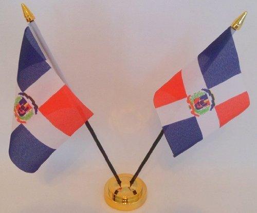 République dominicaine 2 Drapeau affichage de bureau avec Base dorée