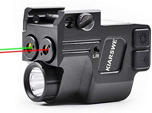 KIARSWE Shockproof Laser Flashlight Combo, 500 Lumens Laser Light Combo for Pistol, Red or Green Laser Sight with Picatinny Rail, Strobe Flashlight, USB Rechargeable