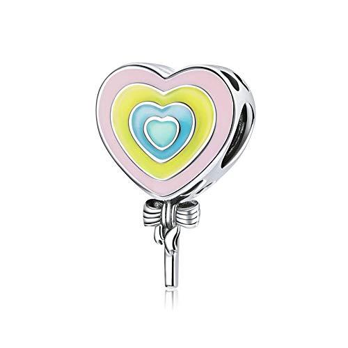 DFHTR Charm Ciondolo Perline 925 Sterling Love Lecca Lecca Ciondolo in Metallo per Donne Originali Bracciale in Argento Gioielli Fai da Te Creazione di Perline