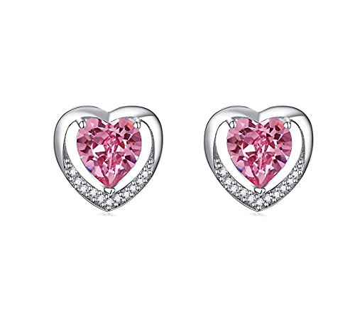 findout Ladies 925 Sterling Silver Cubic Zirconia Pink Crystal Heart Shinny Stud Earrings, for Women Girls (f1832)
