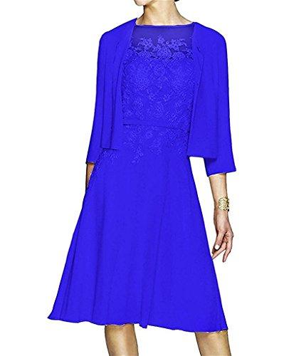 Topkleider Damen Neu 2019 Festlich Rund Spitze Cocktailkleider Kurz Abendkleider Brautmutterkleider Chiffon Jacke-38-Royalblau