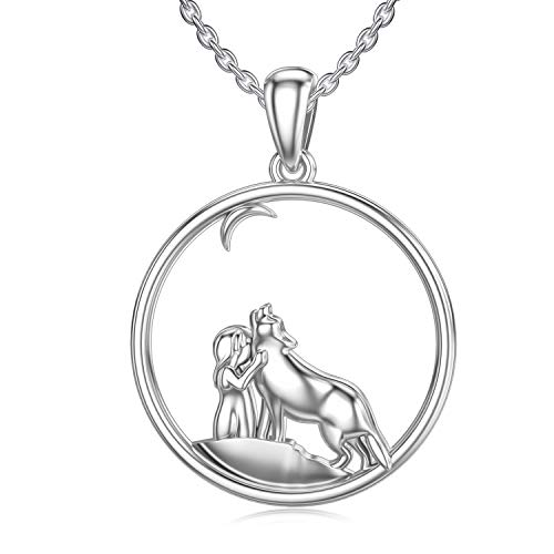 HARMONY BOLA - Collana con ciondolo a forma di lupo in argento Sterling 925 con animali vichinghi, regalo di compleanno per donne e ragazze