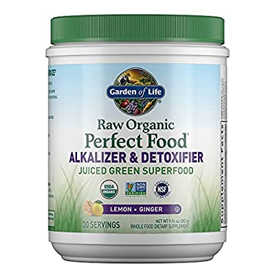 Garden of Life Raw Organic Perfect Food Alkalizer & Detoxifier Juiced Greens Superfood Powder - Lemon Ginger, 30 Servings (Packaging May Vary) - Non-GMO, Gluten Free Whole Food Dietary Supplement, 10.1 Oz from Garden Of Life