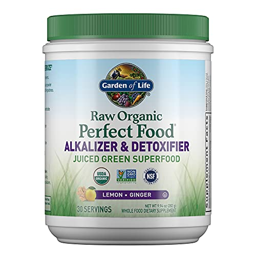 Garden of Life Raw Organic Perfect Food Alkalizer & Detoxifier Juiced Greens Superfood Powder - Lemon Ginger, 30 Servings - Non-GMO, Gluten Free Whole Food Dietary Supplement, Plus Probiotics