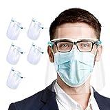 Set de 5 uds. Visera-pantalla facial, protección facial integral anti-salpicaduras, anti-vaho, compatible con gafas, para adultos y niños, alta visibilidad y cómoda sujeción