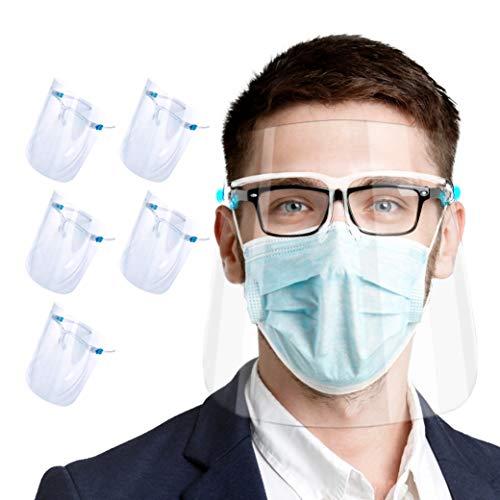Set de 5 uds. Visera-pantalla facial, protección facial integral anti-salpicaduras, anti-vaho, compatible con gafas, para adultos y niños, alta visibilidad y cómoda sujeción ⭐