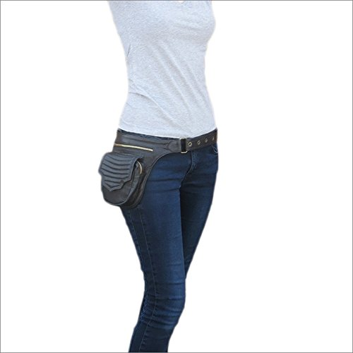 Eyes of India - Black Leather Belt Waist Bum Hip Pouch