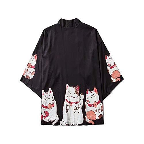 N/ A Japonesa De Dibujos Animados Traje Suerte Gato Camisa Suelta Amplia Protección Solar Kimono RZTZDM (Color : Black, Size : M)
