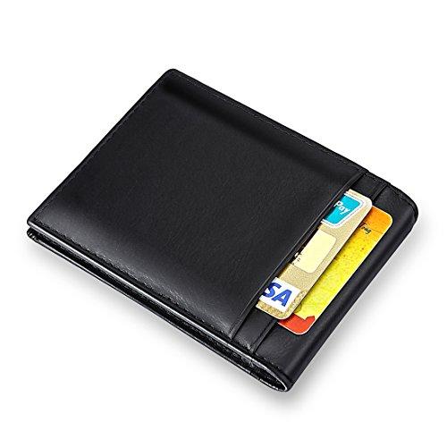 MPTECK @ Nero Cassa del caso di credito della clip di soldi del Protezione RFID Blocco Portafoglio sottile uomo di pelle PU per carte di credito patente di guida Carta d'identità