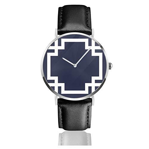 Reloj de pulsera de cuarzo, azul marino y blanco, con borde