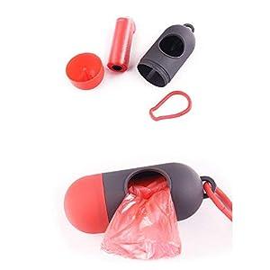 Hemore Bolsas de basura para mascotas con dispensador de bolsas de basura para perros con 1 rollo de bolsa para caca de mascotas, color naranja