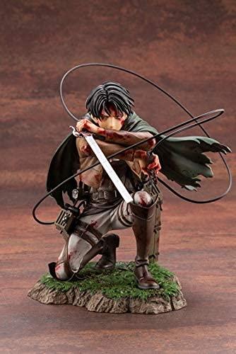 Figura Ataque en Titan Levi Ackerman Battle Daño Anime Juego Carácter Modelo Modelo Caja Caja de Color Estático Decoración de Escritorio Altura Acerca de 1 8CM Decoración de la habitación del chasis