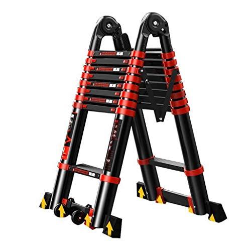 Klappstufen Teleskopleiter, Aluminiumlegierung Dicke Klappleiter Home Multifunktions-Aufzugstechnik Treppen Stehleitern (Size : 2.5+2.5=straight 5.0m(16.4ft))
