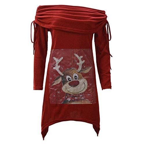 LOPILY Weihnachtspullover Damen Lustig Rollkragen mit Rudolph Druck Asymmetrisch Weihnachten Oberteile Schulterfrei Norweger Pullover Damen Hoody Damen Kapuze Festlich Vintage Tunika (Rot, 34)