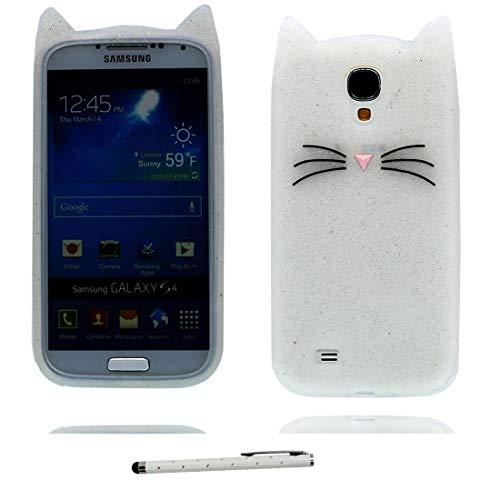 Samsung Galaxy S4 Custodia, Carino Antiurto morbido antiurto di TPU di progettazione creativa creativa del fumetto 3D copertura per Samsung Galaxy S4 ( bianca gatto + penna di tocco)