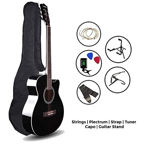 Kadence Frontier Series,Black Acoustic Guitar With Die Cast Keys Super Combo (Fordable Guitar Stand,Tuner,Capo,Bag,strap,strings and 3 picks)