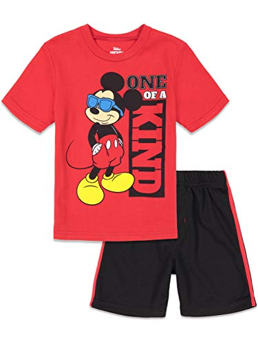 Disney Mickey Mouse Toddler Boys Short Sleeve T-Shirt and Mesh Shorts Set Red 4T