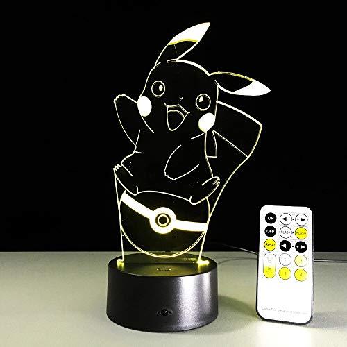 jiushixw 3D Acryl Nachtlicht mit Fernbedienung Farbwechsel Tischlampe Großer Tisch Pokemon Pikachu Nachtsicht Illusion-Lampe-Tischlampe Dekoration Jungen und Mädchen