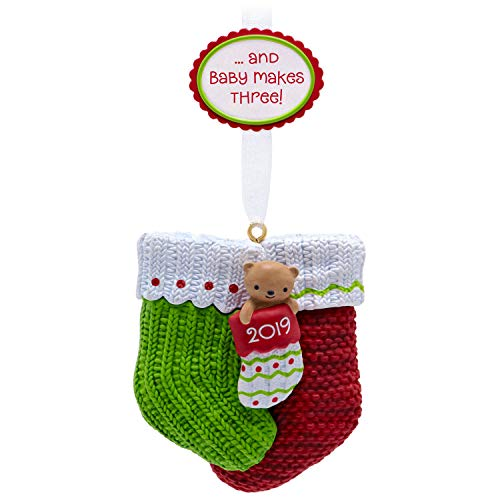 Hallmark Keepsake 2019 Year Dated Baby Makes Three First Christmas Stocking Ornament