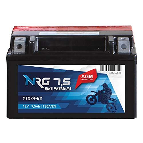NRG AGM Roller Batterie 7.5AH 130A/EN 12V YTX7A-BS Motorradbatterie Quad