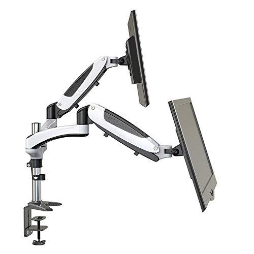 Perlegear Monitor Halterung für 2 Monitore, Schwenkbare Neigbare Drehbare Tischhalterung mit Gasdruckfeder Arm, Bildschirmständer für 15-27 Zoll Monitor, belastbar bis zu 8 kg pro Arm (2 Monitore)