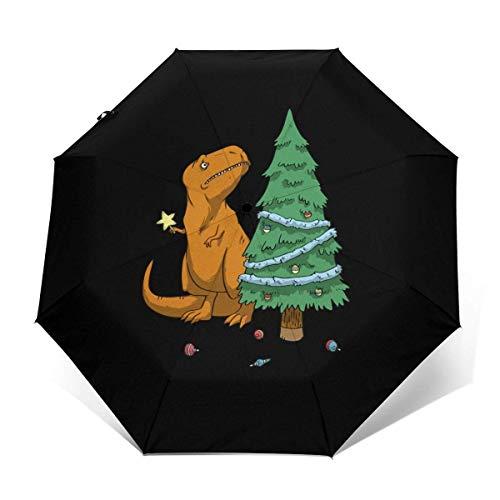 Sombrilla de dinosaurio con diseño de árbol de Navidad automático de tres...