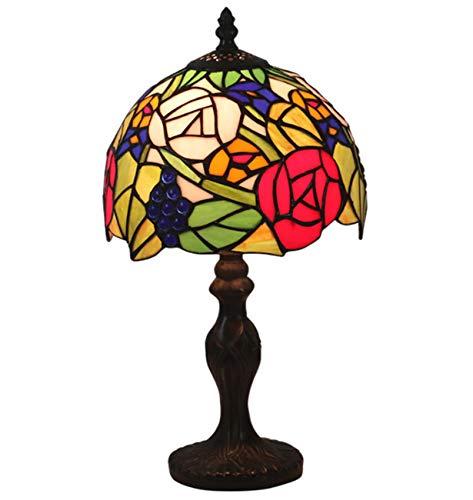 NANXCYR Lámparas de Mesa de Estilo Tiffany, 8 Pulgadas con vitral, Rosa, Pantalla, luz de Lectura, lámpara de Escritorio con Acento de cabecera, Rojo, Azul, Rosa, Base de aleación de Zinc de Roma