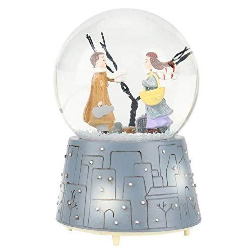 Le joueur de l'histoire des enfants Boîtes à musique Boîte à musique Ornement mignon de bande dessinée boule de cristal de neige lumières artisanat merveilleux cadeau (couleur: A, Taille: gratuit)