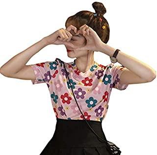 RANRANJJ Pink Retro Flowers Loose Short-Sleeved T-Shirt Girl Feeling Clothes Students Version Chic Net Red Super Fire Soft and Comfortable and Intimate, Elegant and Stylish(Size:
