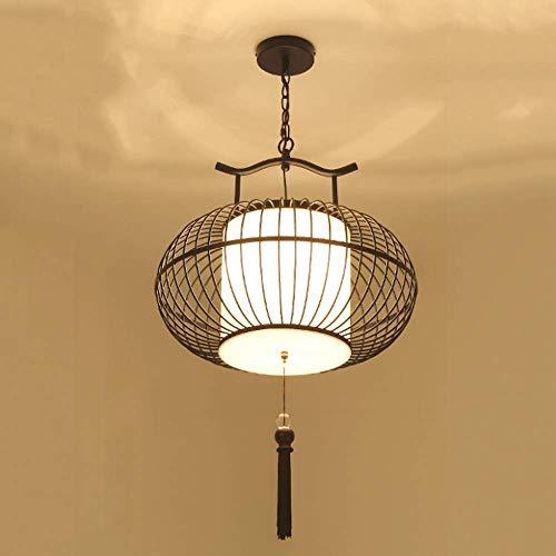 NZDY Linterna China Lámpara de Araña de Hierro Lámpara de Jaula de Pájaros con Pantalla de Tela Personalidad Lámpara Colgante Creativa Base E27 Lámpara de Salón de Té Balcón Luz de Techo Minimalista