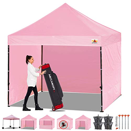 ABCCANOPY Canopy Tent Popup Canopy 10x10 Pop Up Canopies Commercial Tents Market stall with 6 Removable Sidewalls and Roller Bag Bonus 4 Weight Bags and 10ft Screen Netting and Half Wall, Pink
