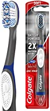 Colgate, 360 Optic Sonic Battery Power Toothbrush with Tongue and Cheek Cleaner Soft, White, 1 Count
