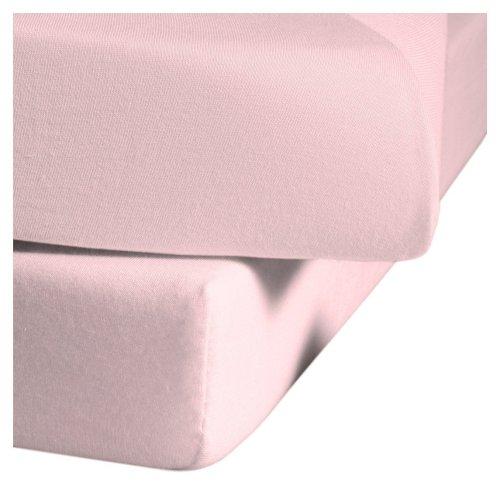 fleuresse Jenny C klassisches Jersey-Spannlaken, 100% Baumwolle, mit praktischem Rundumgummi, Fb. Rosa, Größe 100 x 200 cm, auch passend für 90 x 190/200
