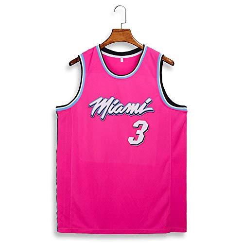 LAFE NBA Basketball Clothes Miami Heats #3 Swingman Ricamata Stile di Abbigliamento Sportivo Palestra da basket estate traspirante camicia camicia sudore Jersey
