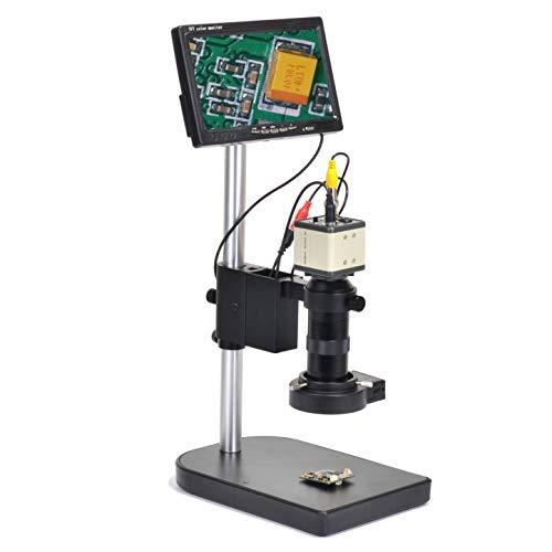 "800TVL CCD 100X Microscope Industrial Camera Kit C-Mount Lens BNC Output 40 LED Ring Light 7"" LCD Monitor"