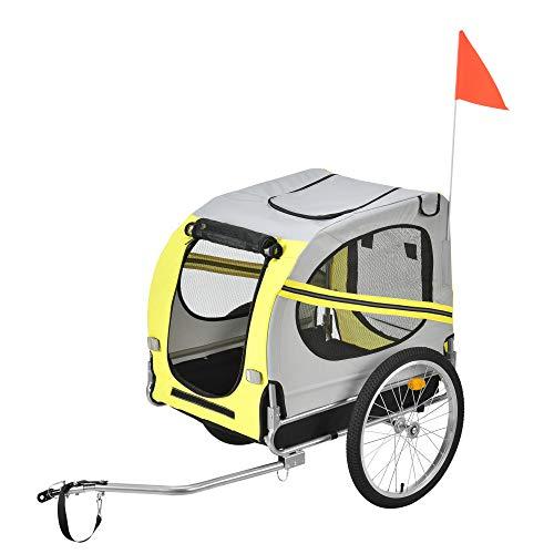 Pro-Tec Fahrradanhänger Hundeanhänger Hunde Transport bis zu 40 kg Anhänger Fahrrad Trailer Gelb/Grau/Schwarz