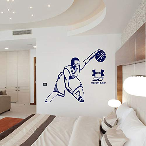 JINGLV Wallpaper Basket Stephen Curry Room Decor Wall Sticker Fan Regalo Poster Decalcomania NBA Master Man Decalcomanie Rimovibili 114x130cm