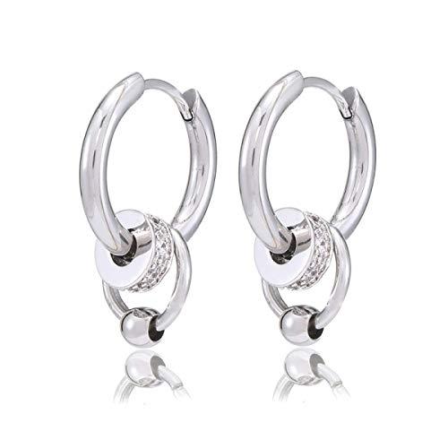 NMD&LR Earrings for Men, Fashion Retro Ring Pendant Titanium Earrings, Mens Earrings Hoops are Suitable for Perfect Boyfriend Gift