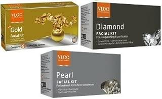 VLCC NATURAL COMBO OF 3 TYPES SINGLE FACIAL KITS GOLD, DIAMOND, PEARL