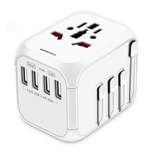 HAOZI Upgraded Travel Adapter, All-in-one International Power Adapter with 4 USB Ports, European Plug Adapter, Universal Travel Accessories for Over 150 Countries(Recovery Fuse), New White