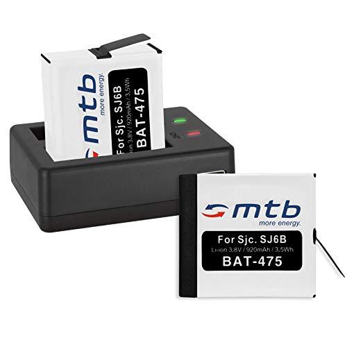 2 Batterie + Caricabatteria doppio (USB) per SJCAM SJ6 Legend WiFi (Black/Silver/Rose Edition), SJ6000 Legend Actioncam - Cavo USB micro incluso