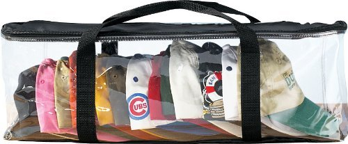 Trenton Gifts Clear Cap Storage Case | Holds 24 Caps | 23' x 6' x 8' | Clear Plastic Black Handles | Box with Zipper Closure | Dirt & Dust Protection