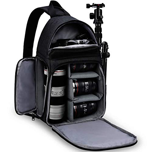 CADeN Camera Bag Sling Backpack, Camera Case Waterproof with Modular Inserts Tripod Holder for DSLR/SLR and Mirrorless Cameras (Canon Nikon Sony Pentax) Black