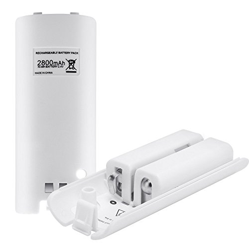 Rechargeable Batteries for WII, Lavuky WS38 2800mAh Batteries Packs for WII Remote-White