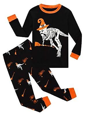 Halloween Dinosaur Pajamas Big Boys Girls Glow in The Dark Halloween Sleepwear Long Sleeve Kids Pjs Size 10