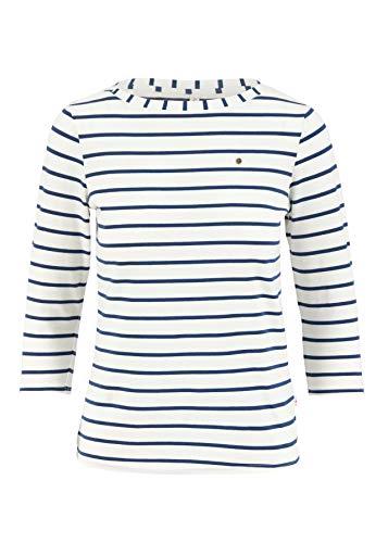 Blutsgeschwister Damen Shirt Logo Stripe 3/4 Sleeve Shirt Longshirt Longsleeve Weiß XS