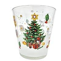 set bicchieri acqua, sei bicchieri natalizi vetro, resistenti e longevi adatti alla lavastoviglie hanno una capacità di ventisette centilitri made in italy villaggio natalizio (1)