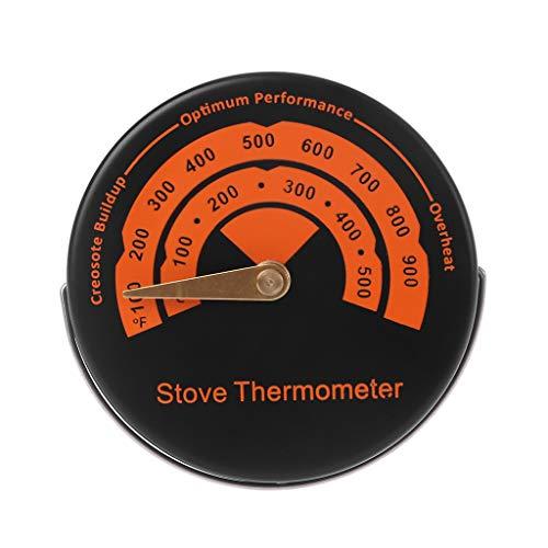 Feamos - Termómetro magnético para chimenea de leña, color naranja