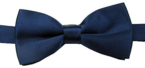BOWKITE Adjustable Boys Bow Tie Solid Pre Tied for Wedding Party Dress up Navy Blue